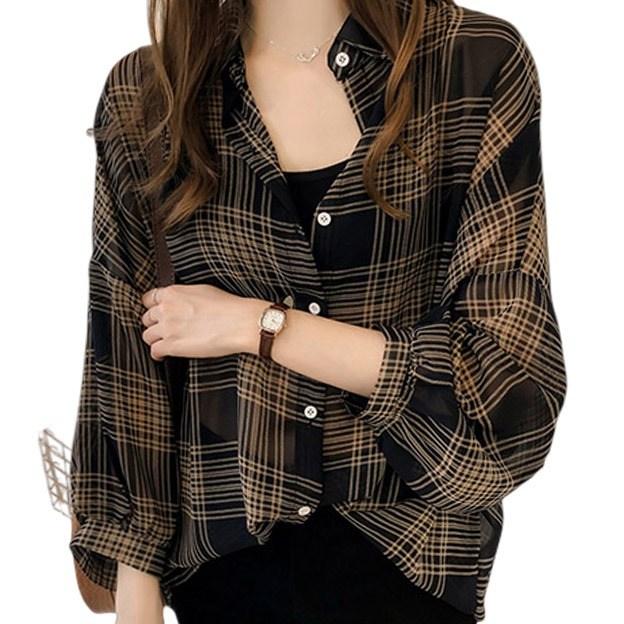 리더스타 여성용 체크무늬 긴팔 셔츠
