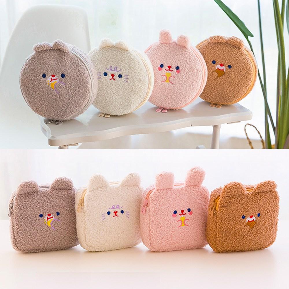 [리틀데이지] 귀여운 뽀글이파우치 8종 생리대파우치 화장품파우치 양털 토끼 고양이 곰돌이 캐릭터파우치 10대 여중생 여고생 선물