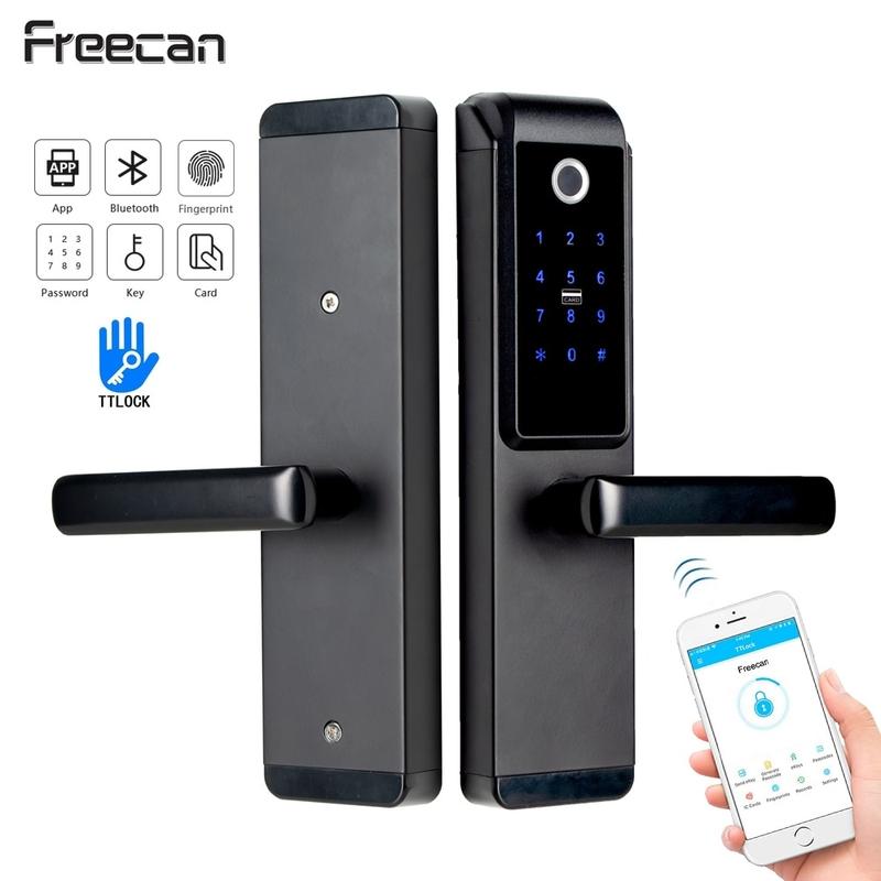 디지털 도어락 스마트 푸시풀 FREECAN 지문 인식 잠금 장치 WiFi 디지털 전자