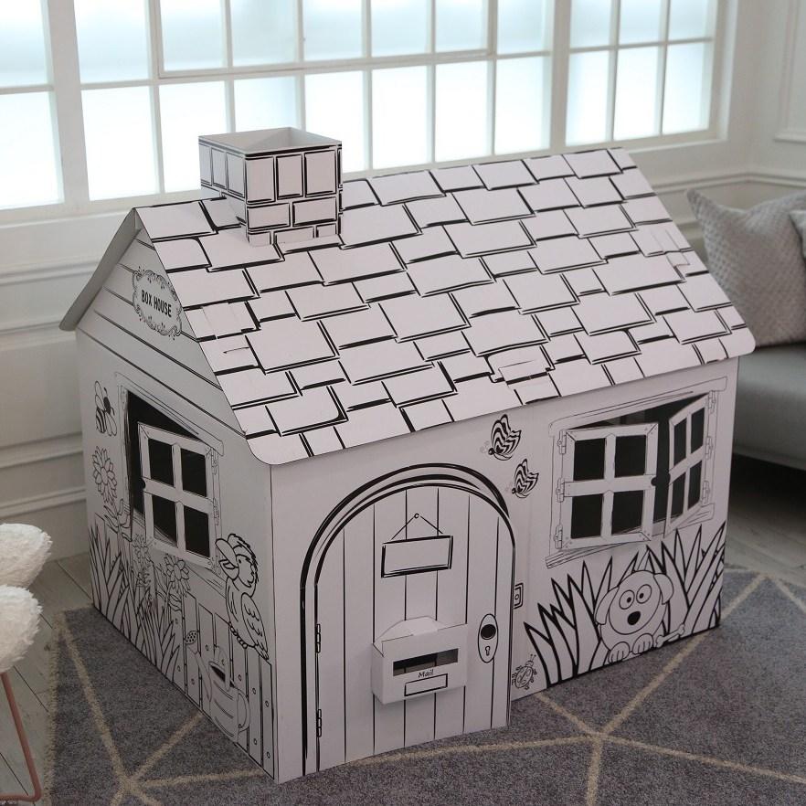 박스하우스 KC인증 대형 스케치종이집 색칠 페이퍼하우스 DIY 박스 종이집만들기 놀이 인디언텐트 놀이집