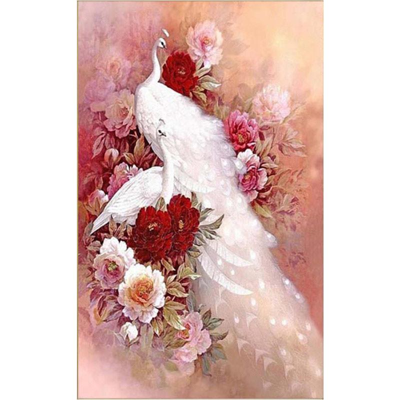 하얀공작새 모란꽃장식 보석십자수 원형비즈 큐빅 전체수, 80×140
