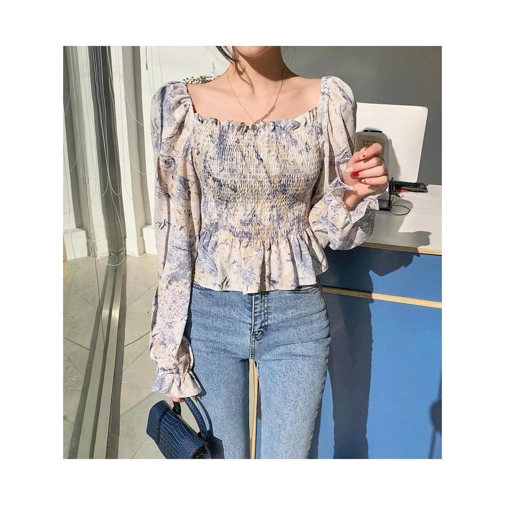 알지구 썸머 블라우스 가을 긴팔 한국어 스퀘어 넥 누수 쇄골 탑 여성 요정 짧은 서양식 쉬폰 셔츠