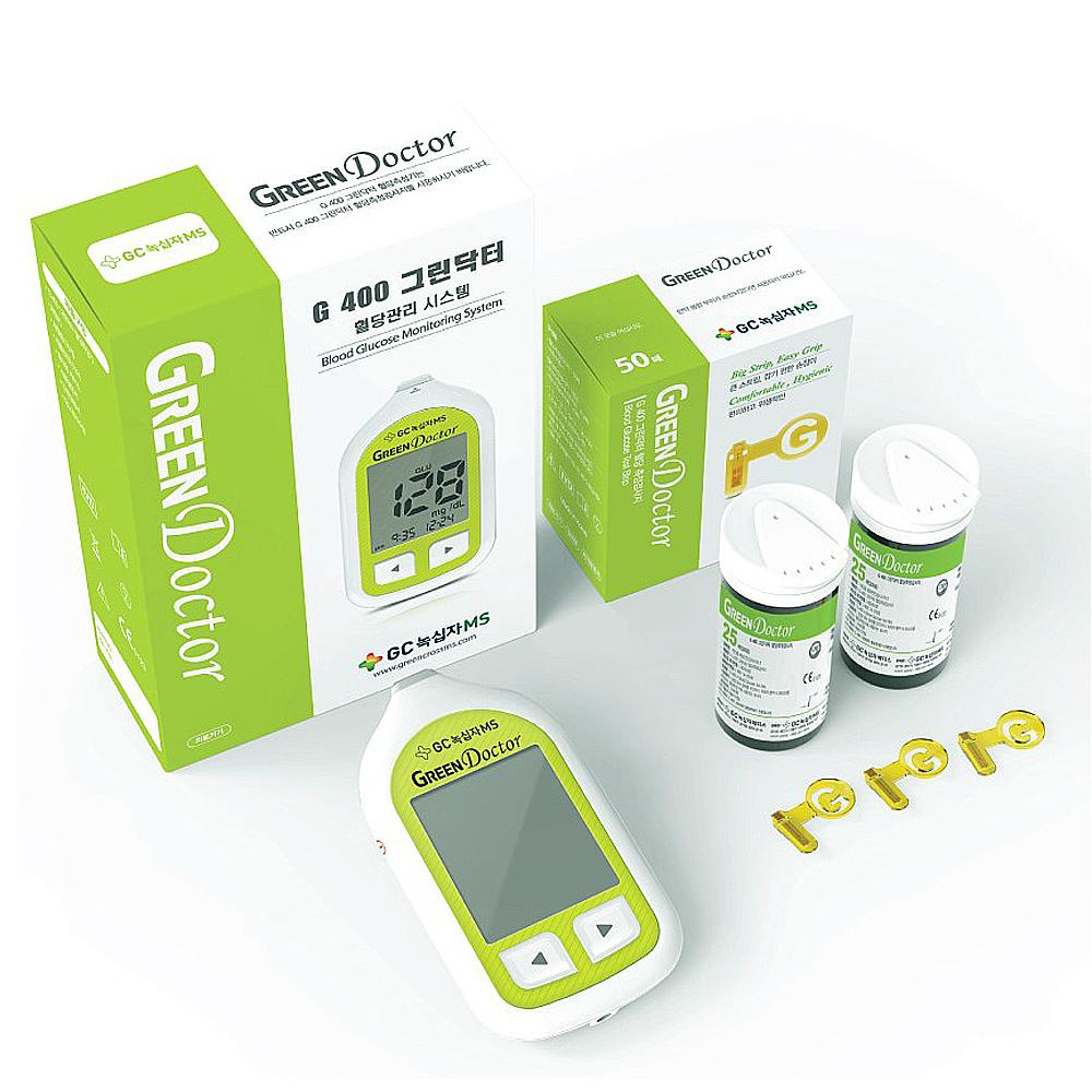 녹십자 그린닥터 혈당측정기 시험지100+침110+솜100 풀세트 혈당검사, 1set