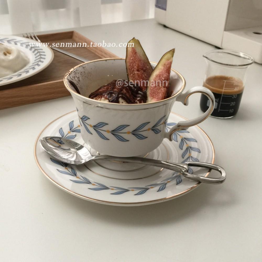 빈티지접시 나뭇잎플레이팅 엔틱그릇 찻잔 플레이트 8인치, 찻잔 (블루)