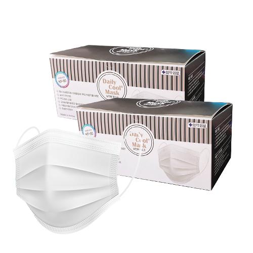 비에스 데일리쿨 보건용 마스크 KF 80 대형 화이트 티슈형, 50매, 2개