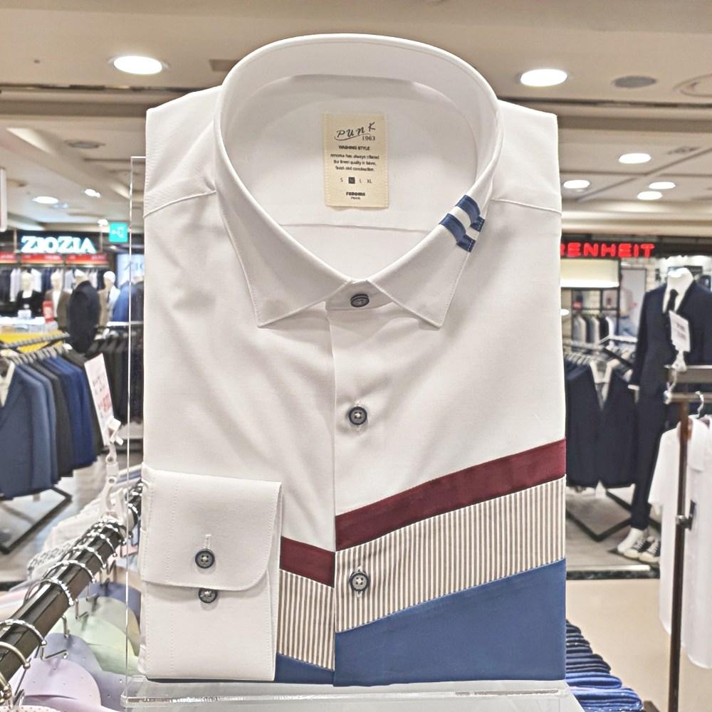 레노마 셔츠 #무료배송#백화점 이월상품 깔끔한 화이트 카라 포인트 블로킹 슬림핏 셔츠RJFCS1-501-WH