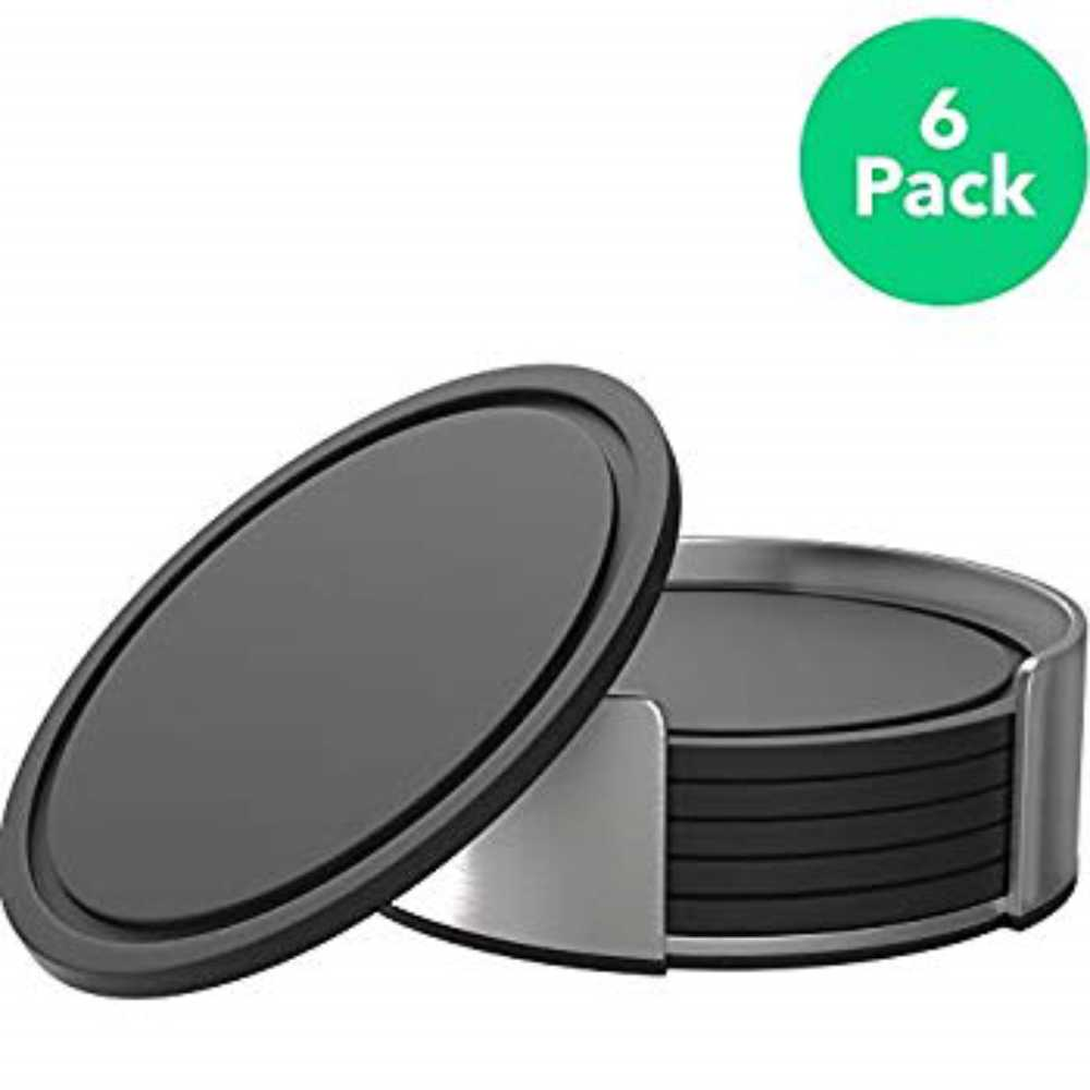 Vremi Drink Coasters Set of 6 with Holder - Round Black BPA Free Silicone with Stainless Steel Coaster Case - Fits Any S