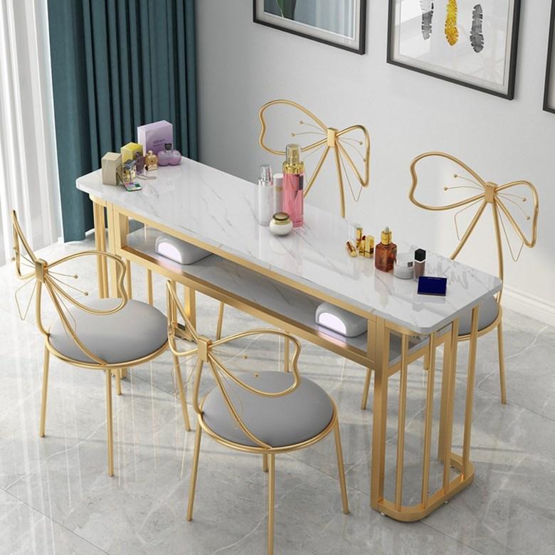 대리석 패턴 네일샵 테이블 네일케어 네일테이블 좁고긴테이블 홈 카페 식탁 패디 매니큐어 단일 더블 간단한 현대 테이블 유럽 스타일의 네일 테이블과 의자 세트 특별 경제, 긴 80골드 다리 + 의자가없는 흰색 나무테이블