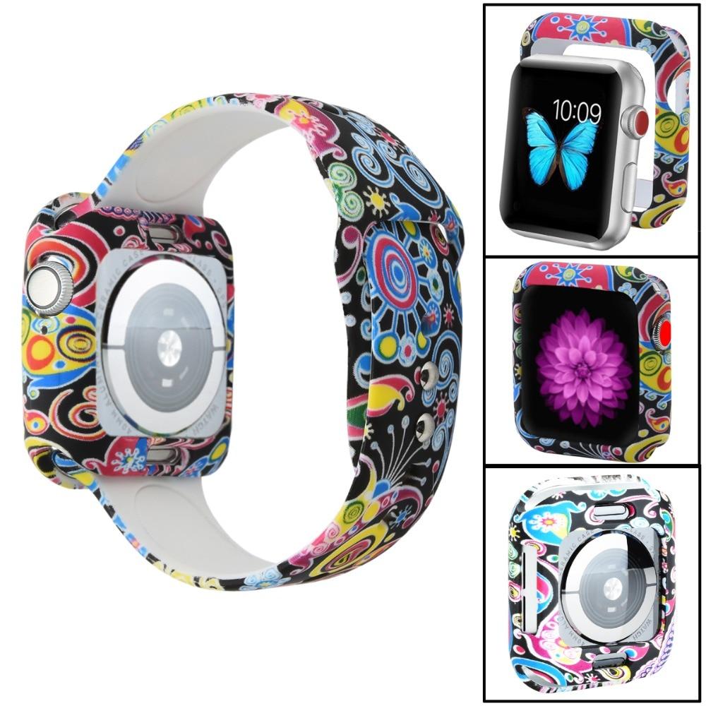 Odog 꽃 실리콘 커버 케이스 애플 시계 4 밴드 40mm 44mm iwatch 시리즈 4 보호 프레임 전체 보호 쉘, Bluerose