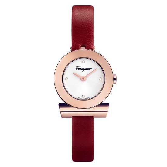 Ferragamo 페라가모 간치니 로즈골드 다이아 레드 레더 시계 SF4301419