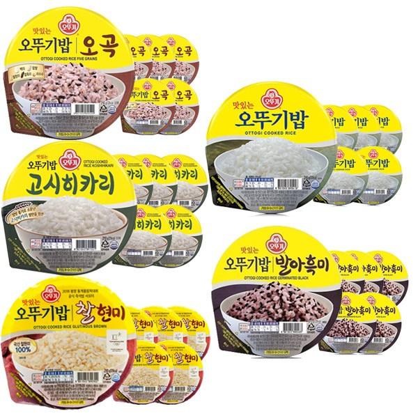 오뚜기 오뚜기밥 잡곡밥 5종세트 오뚜기밥3 + 찰현미3 +오곡3 발아흑미3 고시히카리3, 2세트