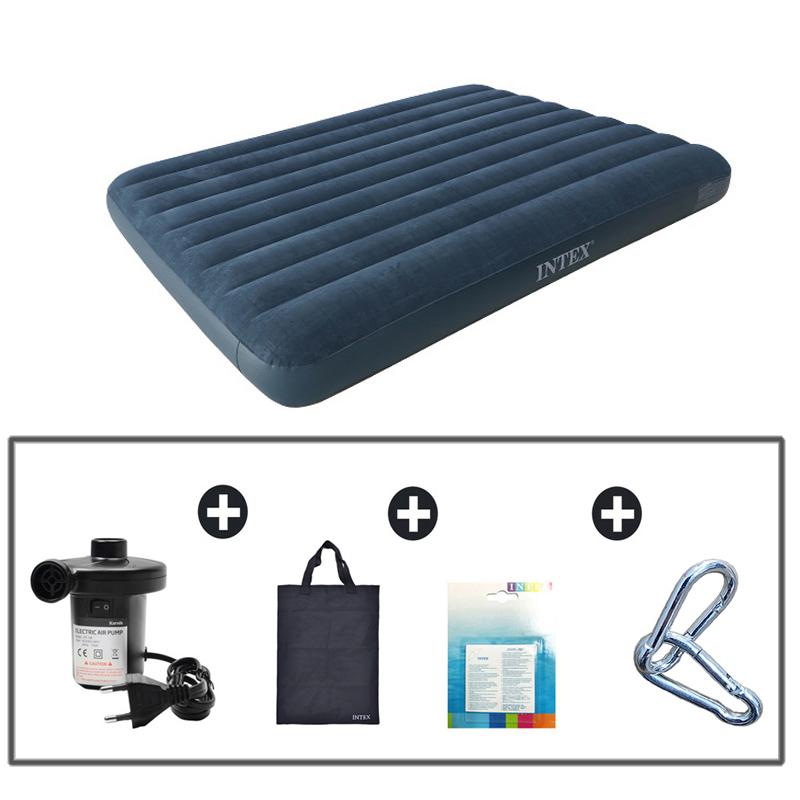 INTEX 더블(D) 퀸(Q) 에어매트+전동펌프+가방+패치+카리비너5