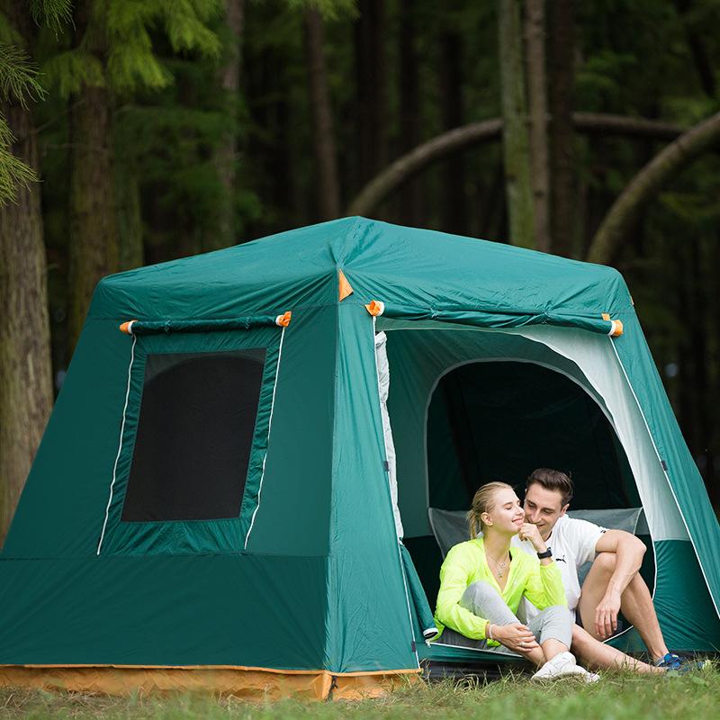 FBC 091M신형 원터치 자동 팝업 대공간 멀티 캠핑 텐트 4-6인용, 커피색