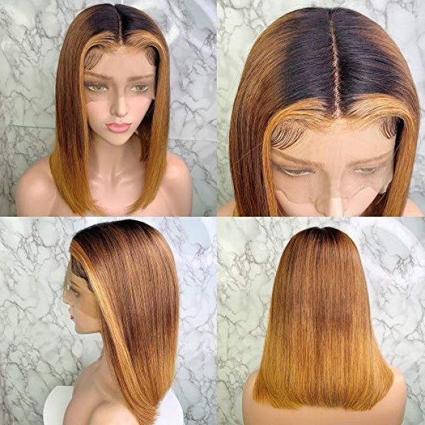 Newa Hair 13x6 Ombre Lace Front Human Hair Blonde Highlights Color Lace Front Wi, 단일상품, 단일상품