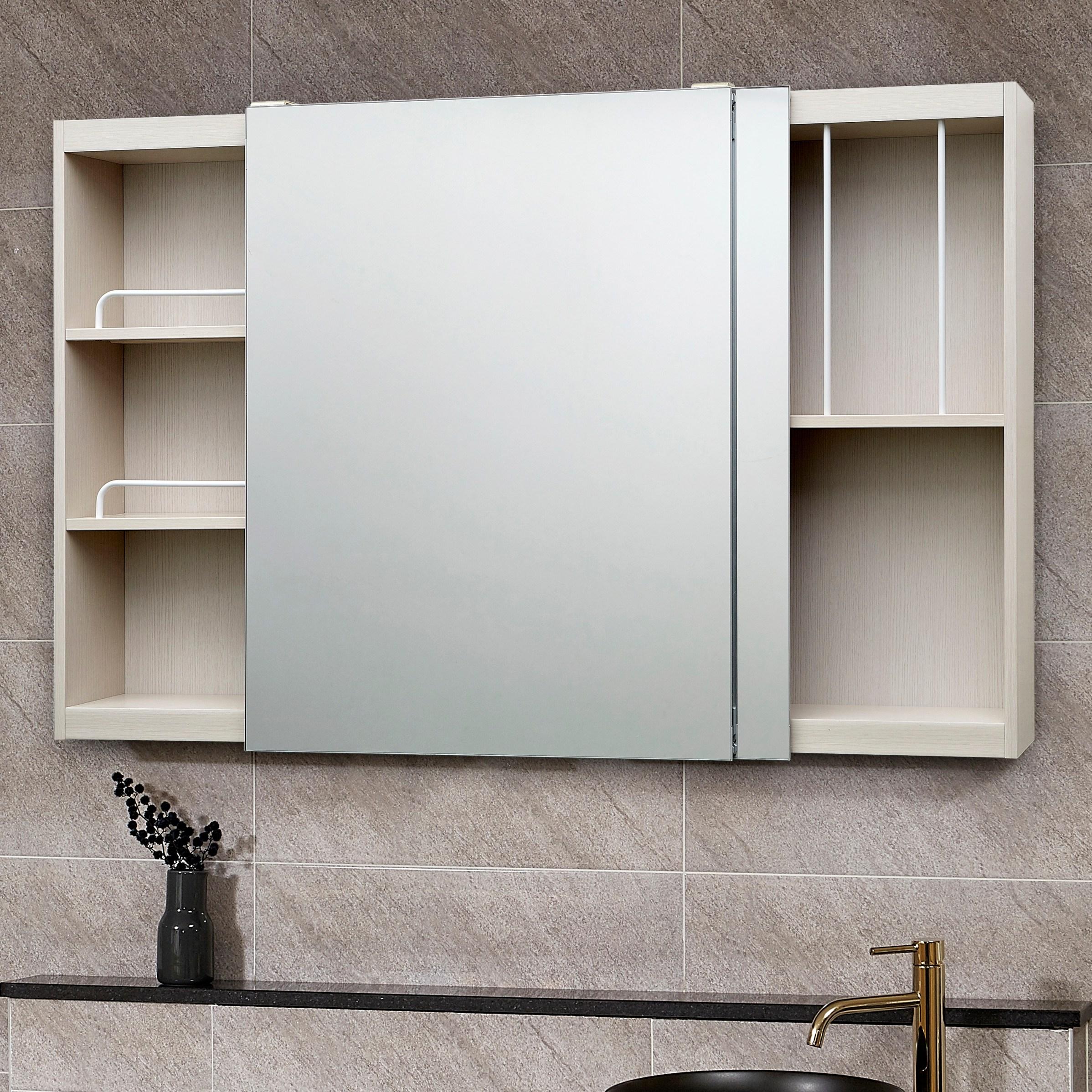 모카 전면 거울 슬라이드 도어 욕실 수납장(1200X800), 심플아이보리, 1개