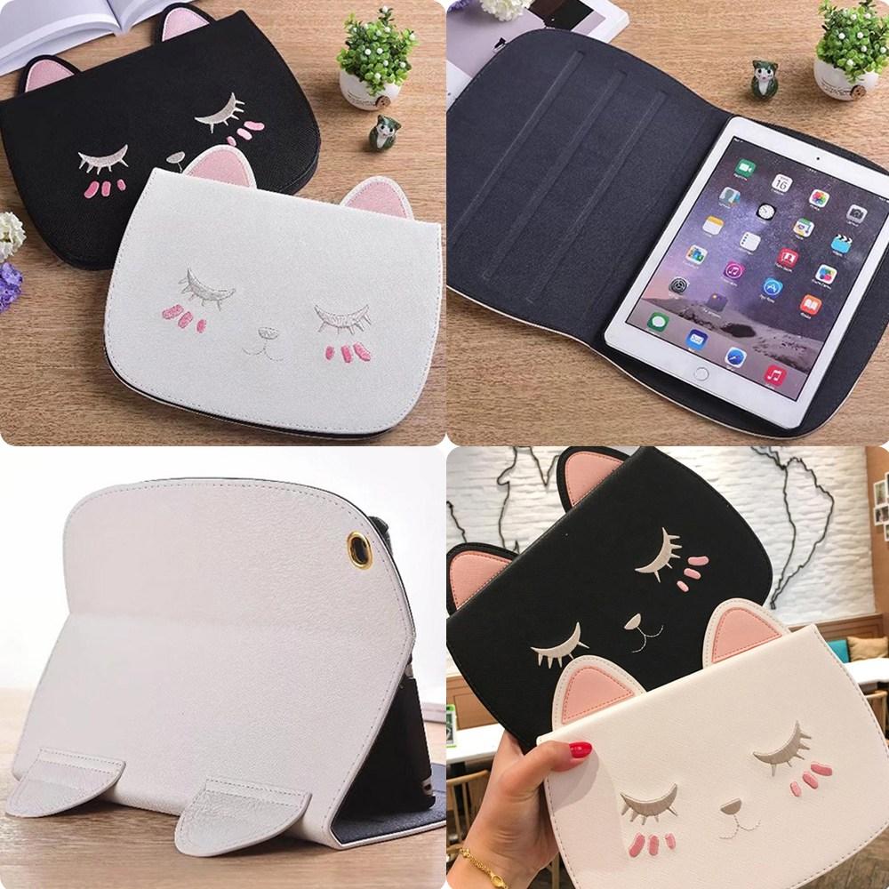 아이패드 7세대 미니4 프로10.5 9.7 에어3 눈감은 고양이 수납 파우치 케이스, A화이트