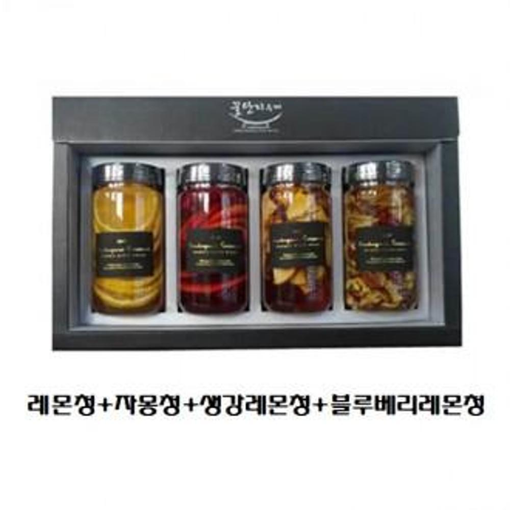 (수제 과일청 선물세트) 꿀단지 300ml 레몬청+자몽청+생강레몬청+블루베리레몬청, 선택, 단일상품