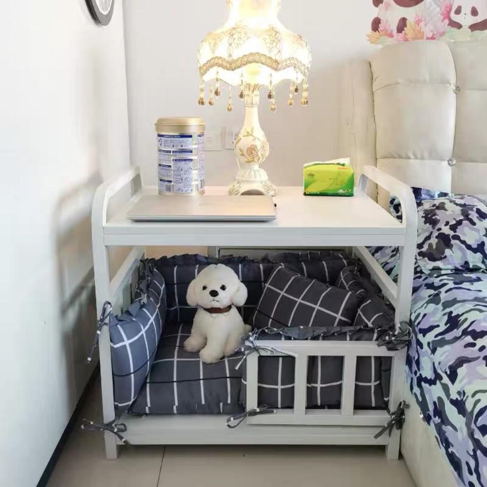 강아지산소방 혼자두기 강아지포토존 고양이호텔, 화이트 덧댐 4면 침대 그레이 체크 (POP 5243825493)