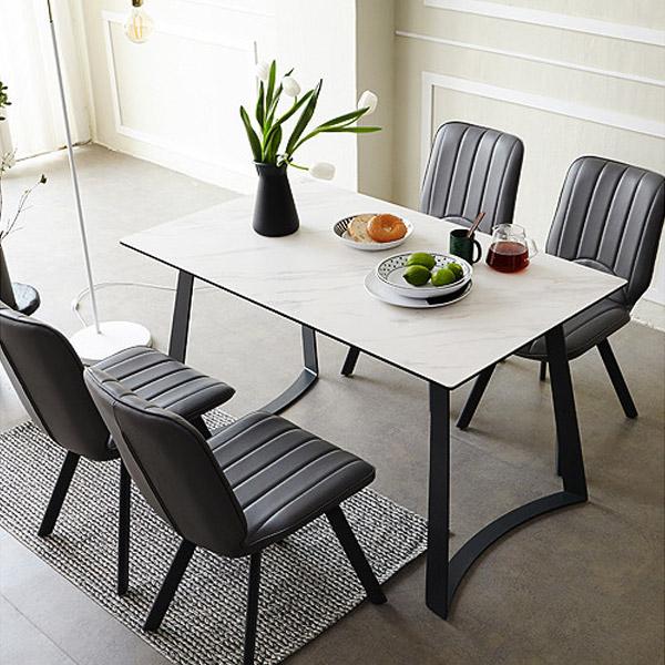 [유씨엠] 페로 4인 이태리 세라믹 식탁세트, 선택2 - 식탁 1EA + 1인의자 2EA + 2인벤치 1EA