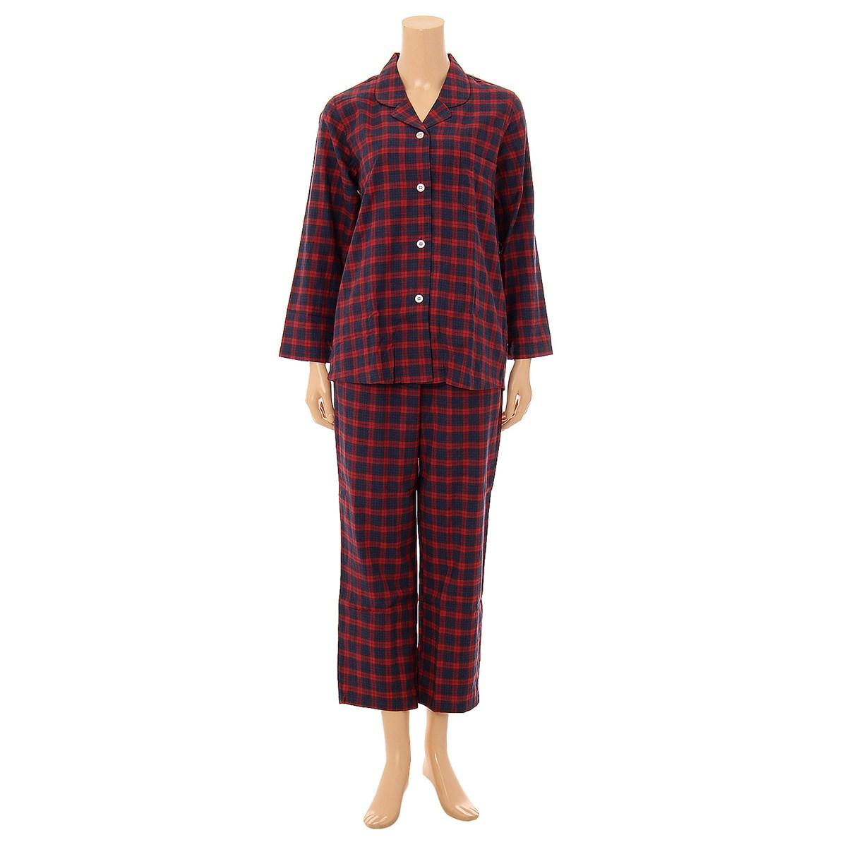 비너스 겨울 따뜻하고 도톰한 면 기모 체크 선염 파자마 여성 잠옷