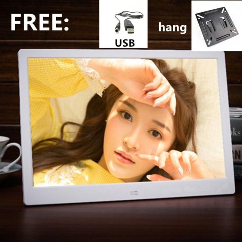 디지털 액자 15 인치 LED 백라이트 HD 1280800 전체 기능 디지털 사진 뮤직 비디오 전자 앨범 전자 사진, 미국 플러그, 하얀색