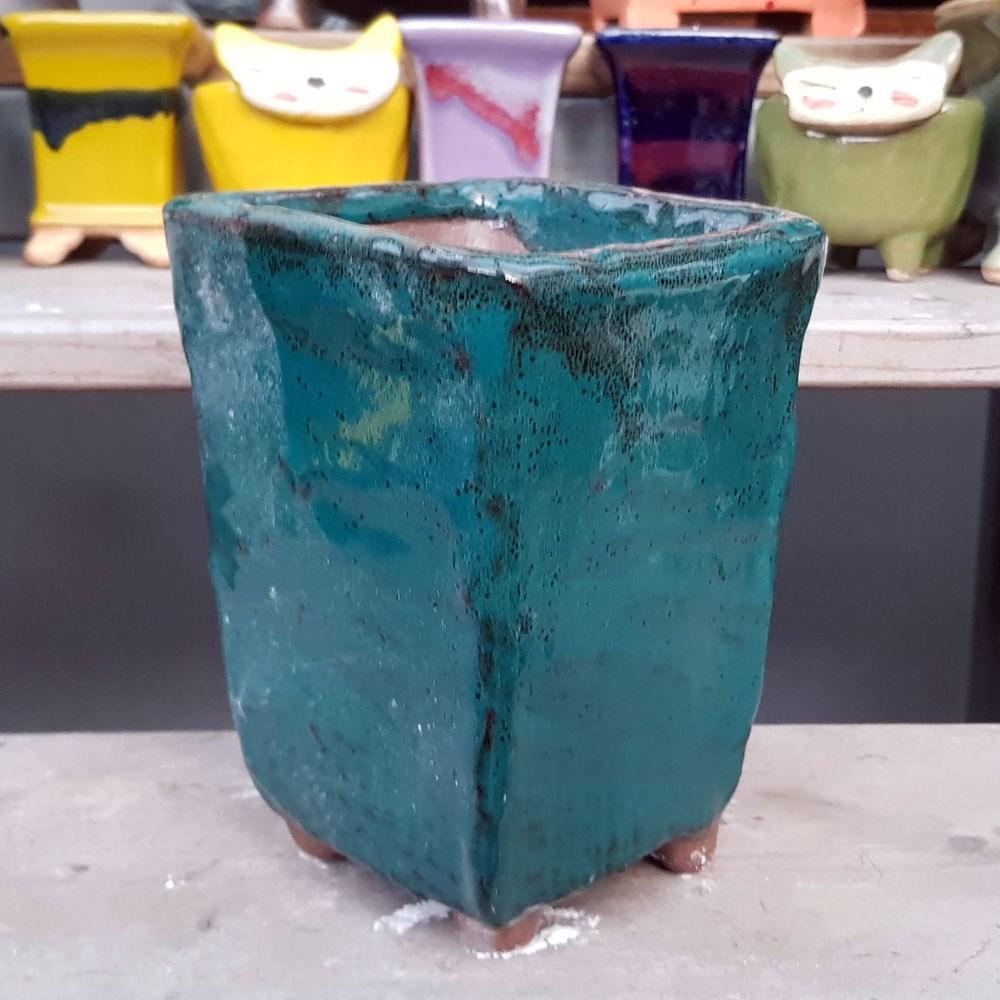 제이팟다육 dm 긴사각 수제화분 다육이화분 105, 녹색
