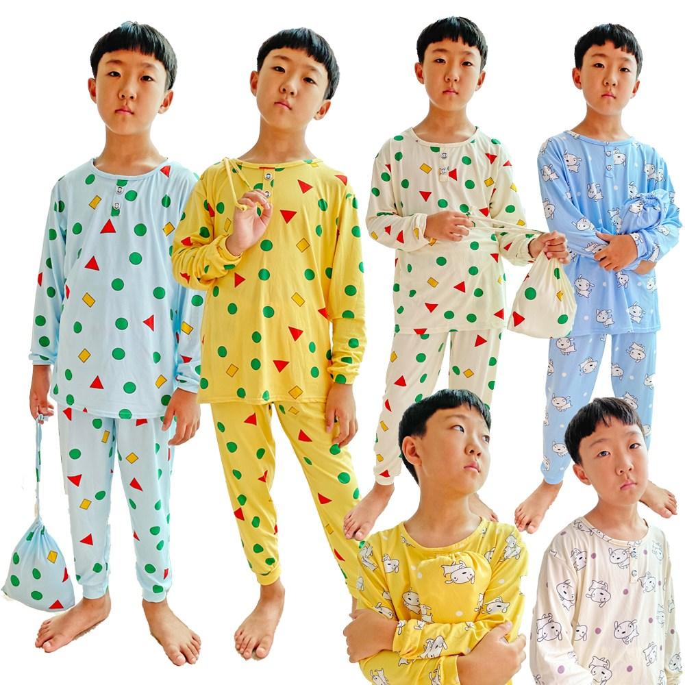 [무배 파우치증정] 부들부들 아동잠옷 내복 도형잠옷 스판짱 잠옷세트(잠옷+동일무늬파우치)