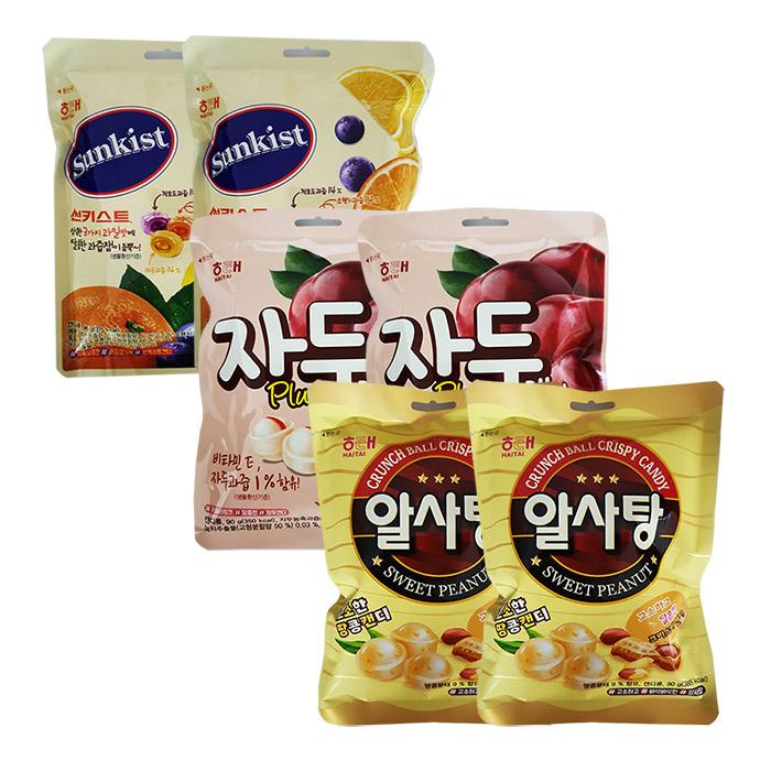 해태 캔디 3종 6개입(알사탕+썬키스트+자두), 6개, 90g