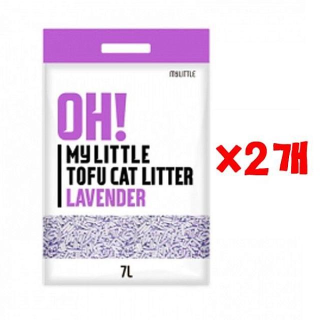 후니스토어 오마이 리틀 두부모래 라벤더 7L X 2개 흡수형모래 캣 고양이 모래 두부