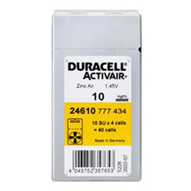듀라셀 스타키 3통구매시 사은품 보청기배터리건전지 스타키보청기밧데리공용 배터리, 40입, 듀라셀 10A