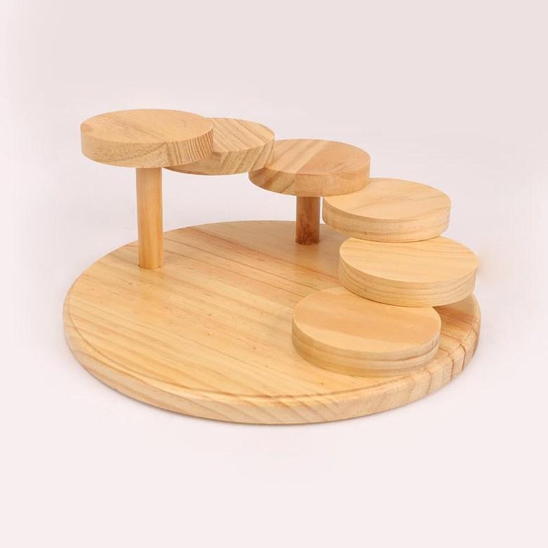 홈포차 오마카세 회포장 포장초밥 월남쌈 카나페 우드 계단식 접시 트레이, 원형 6단 스시 테이블