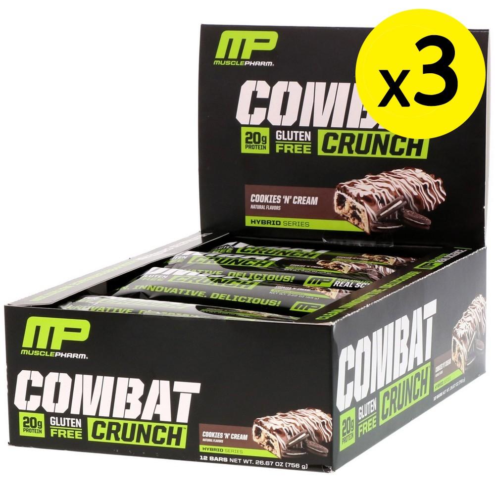[미국직구]MusclePharm 컴배트 크런치(Combat Crunc) 쿠키앤 크림(Cookies N Cream) 12 개입 각 2.22oz (63g) 3개, 선택, 상세설명참조