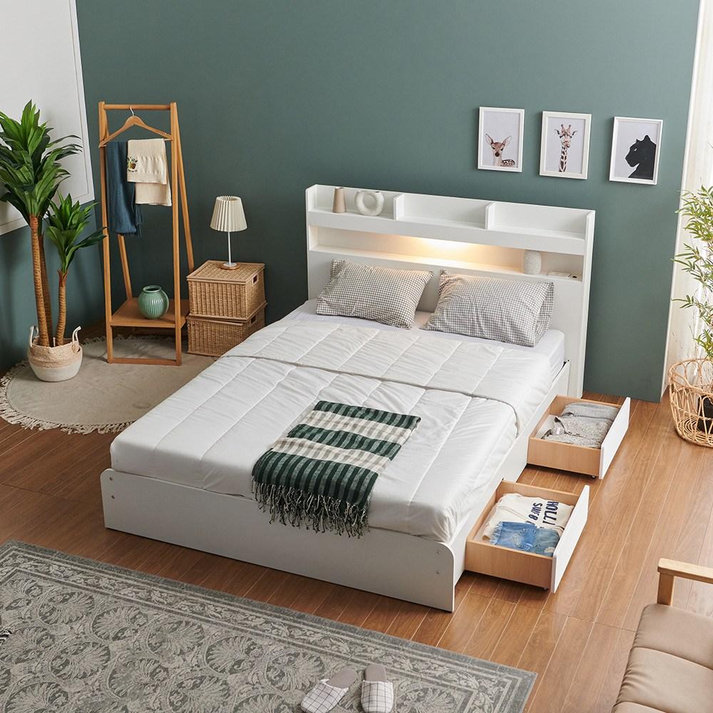 크렌시아 라피스 LED 일반서랍형 슈퍼싱글 퀸 침대+본넬 매트리스+방수커버, 화이트