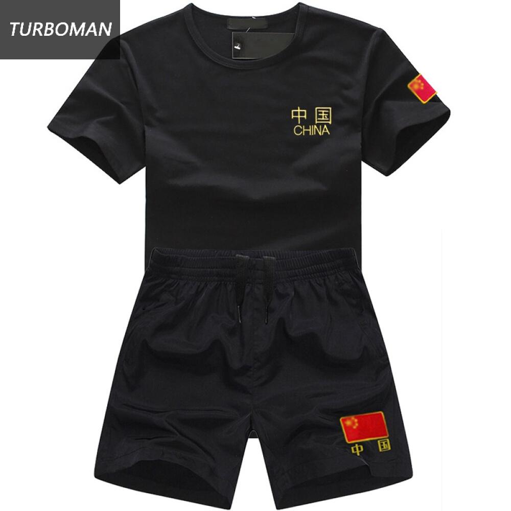 TURBOMAN 정품 16 식 무 트 제 이 경찰복 여름 전역 티셔츠 남자 반팔 레이 닝 체능 반바지 카 세트 맞 춤 형 V 넥 블랙 중국 M (100 근 내외)