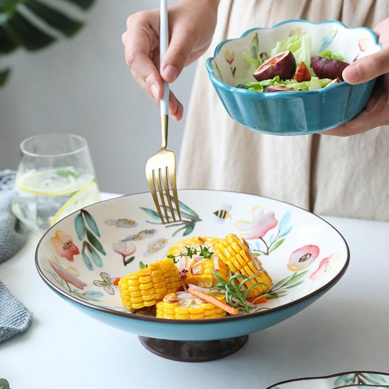 Yomerto 꽃 모양 식기 과일 샐러드 그릇 디저트 그릇-Q2242DR, 10인치