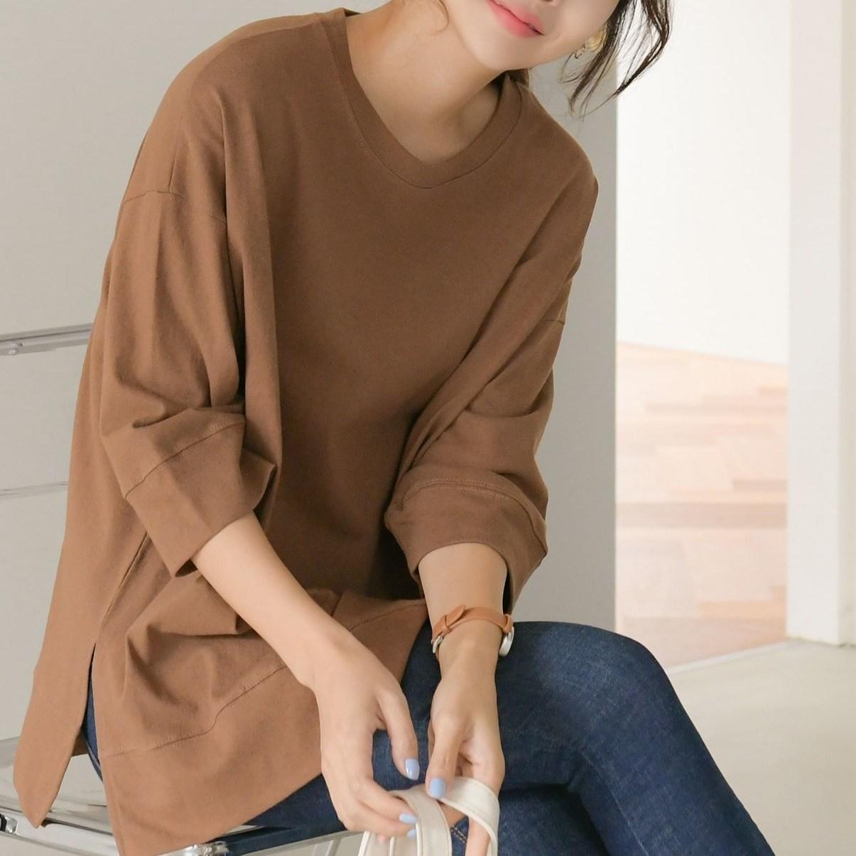카라 7부소매 루즈핏 박스 무지 간절기 데일리 카멜 롱 티셔츠 긴팔
