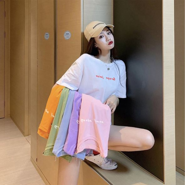 [1+1+1 총 3장] 주디엘리 여성 그레이프 주스 여름 반팔 루즈핏 티셔츠