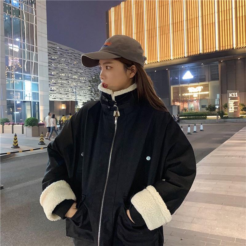 여자 오버핏 뽀글이 양털 후리스 뽀글이후드집업 ZG4