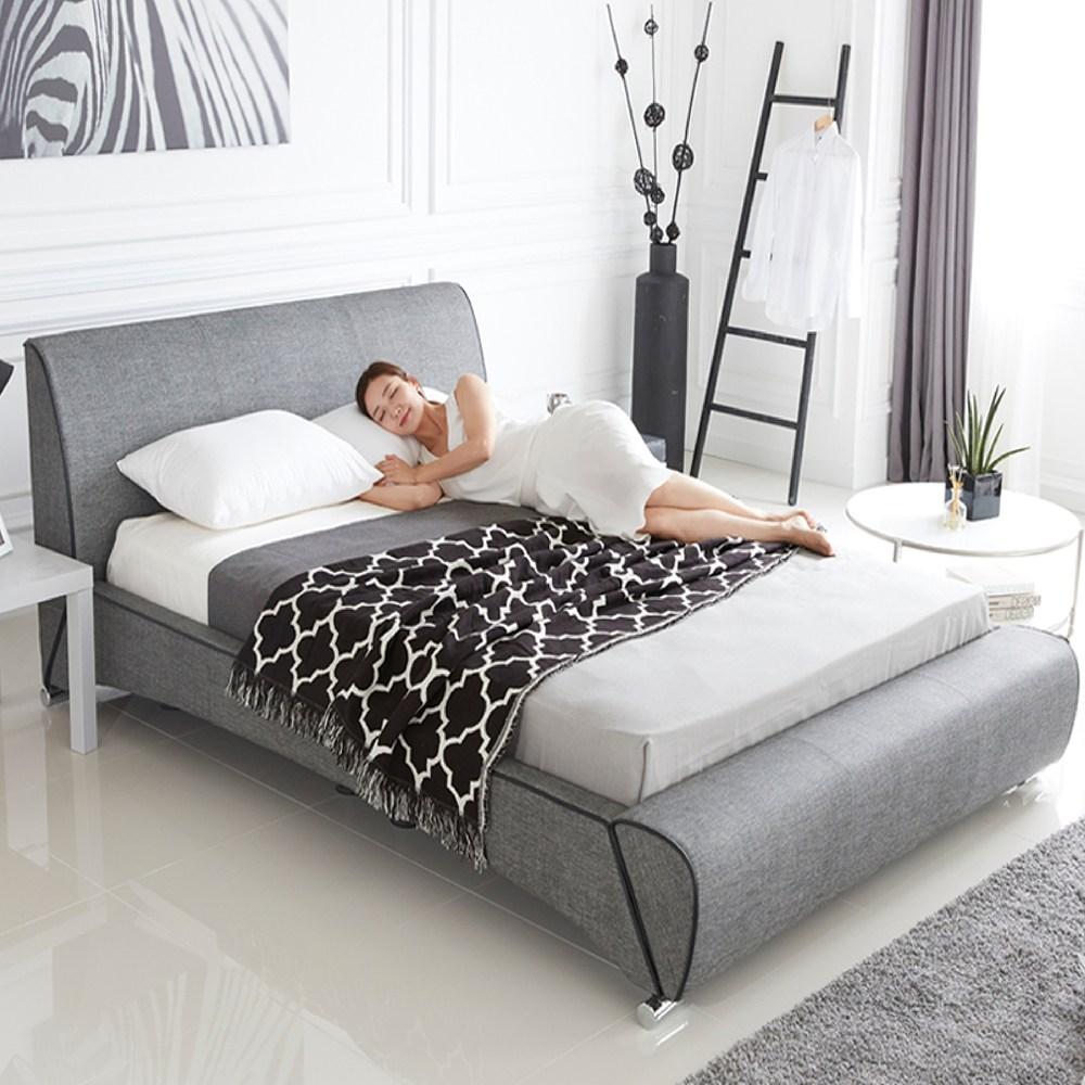 웰퍼니쳐 시그니처 가죽 퀸 침대(매트리스+나무 깔판 포함), 멜란지블랙