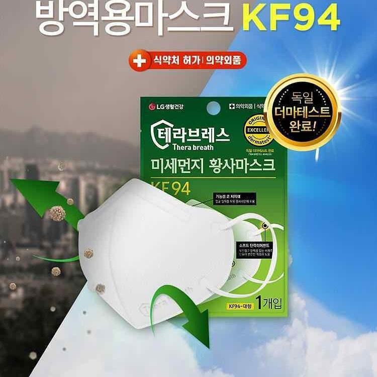 LG생활건강 테라브레스 미세먼지 황사마스크 KF94, 1box, 25매입