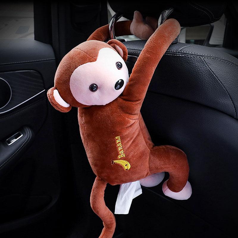 케이모던스 차량용 헤드레스트 원숭이인형 휴지걸이, 브라운