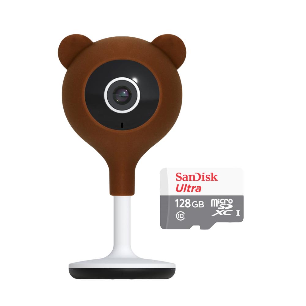 헤이홈 헤이베어 홈cctv 캐릭터 케이스, 헤이베어 커버 + 홈카메라 + 128GB SD카드
