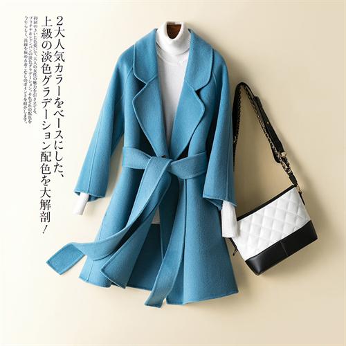 캐시미어 핸드메이드 코트 가을과 겨울 수제 양모 양면 모직 여성용 중간 길이 슬림 헵번