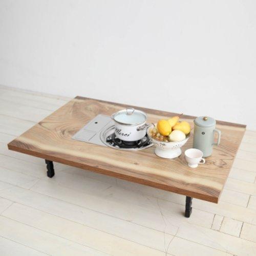 [텐바이텐] 우드슬랩 4인용 가정용 불판테이블 접이식테이블 불판식탁, 우드슬랩 불판테이블