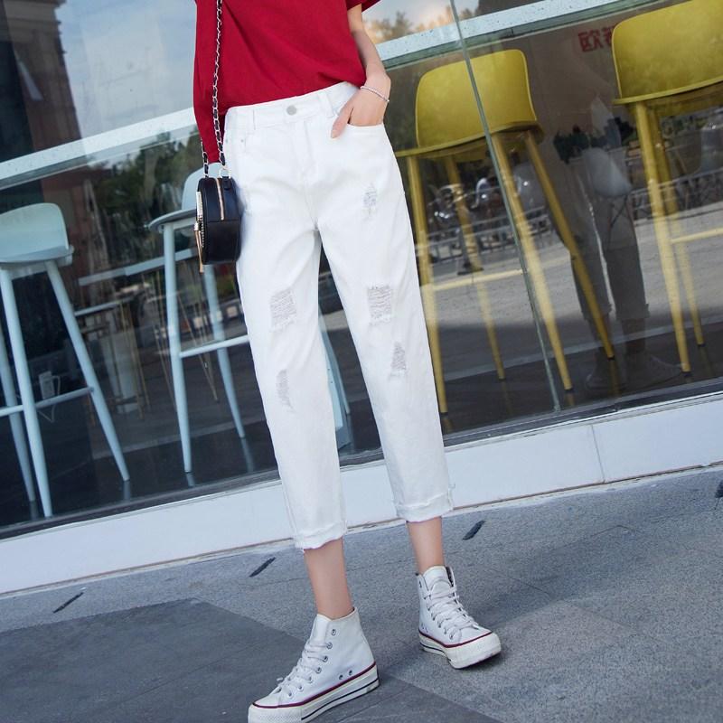 나래쇼핑몰 데미지 청바지 여성 와이드 루즈핏 여름 얇은 하이웨스트 날씬해 보이는 9부 스트레이트핏 일자 배기 팬츠 트렌드