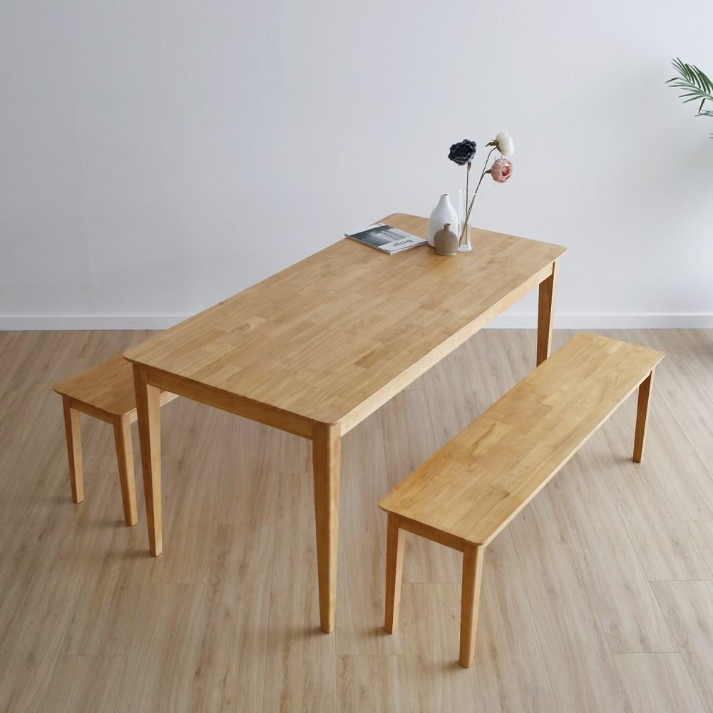 라미에스 디첸 고무나무 원목 6인식탁세트, 02 디첸6인식탁1+벤치2