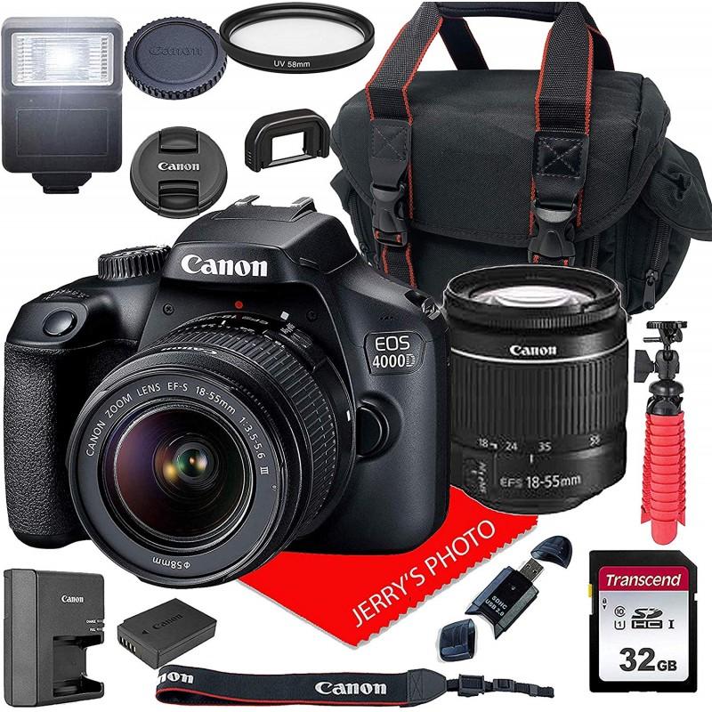Canon EOS 4000D / Rebel T100 DSLR 카메라 (Canon EF-S 18-55mm F / 3.5-5.6 III 줌 렌즈 + 케이스 + 32, 단일상품