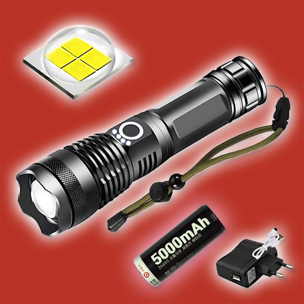 XHP70 LED 손전등 충전식 후레쉬 등산 캠핑 낚시 건전지겸용 써치라이트