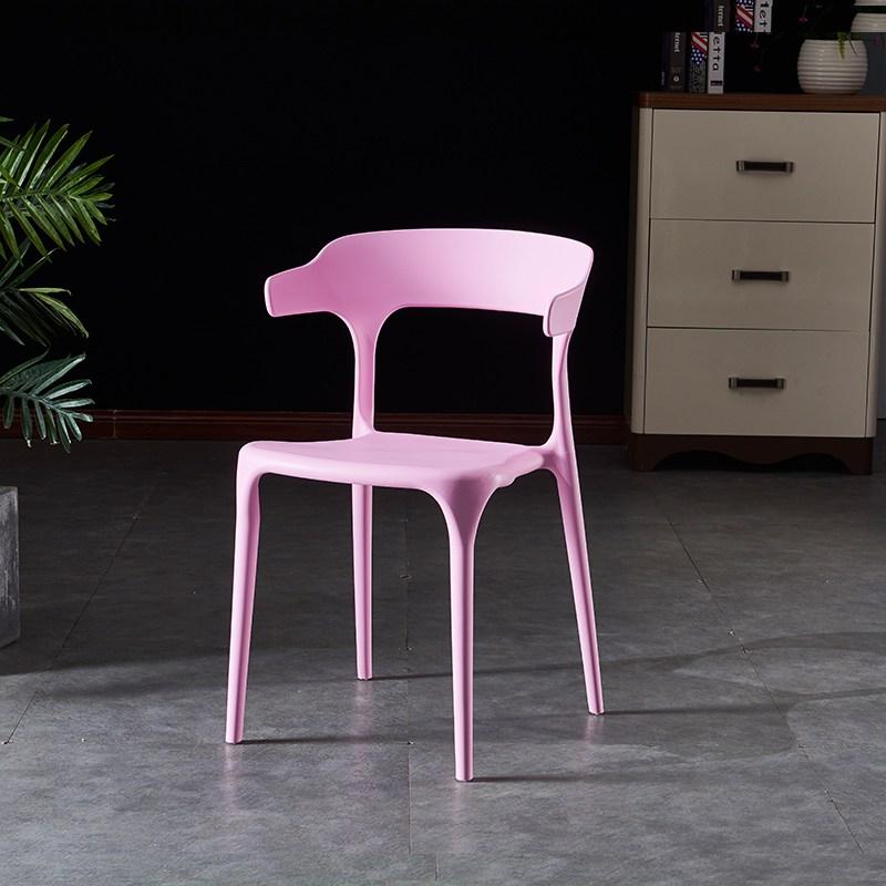 유아식탁의자 심플 플라스틱 의자 셀럽 등받이의자 북유럽식 사무 가정용 경제형 식탁의자 캐주얼 우각의자, T10-(블루)수출 스타일
