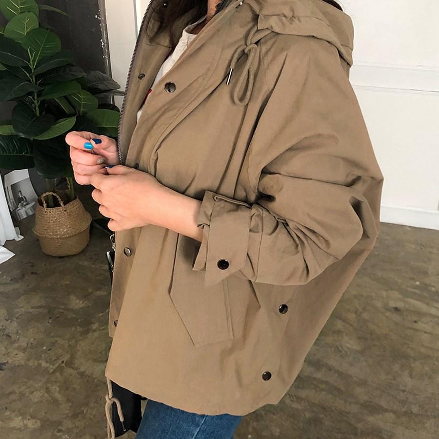 비비애르 루즈핏 후드 버튼 숏 야상자켓 가을 간절기 여자야상점퍼 스트링점퍼 야상